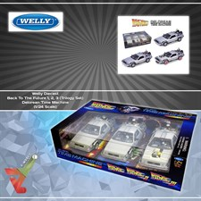 Welly Diecast - Back To The Future 1, 2, 3 (Trilogy Set) Delorean Time Machine (1/24 Scale)