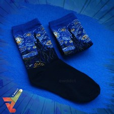 Vincent van Gogh's 'The Starry Night' (Famous Painting) - Crew Socks (Unisex)